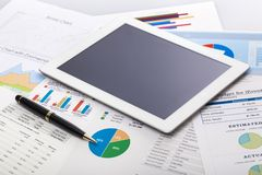 Investment. Data tablet list funds chart sale Stock Image