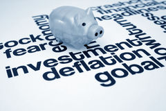 Investment and deflation. Close up of piggy bank on Investment and deflation Stock Photo