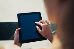 Investment department work process.Closeup photo man showing reports modern tablet screen. Royalty Free Stock Photos