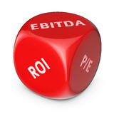 Investment dice. Big red dice with financial options Stock Images