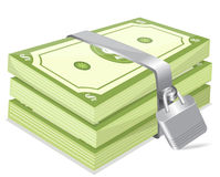 Investment. Dollar currency notes with lock Royalty Free Stock Photo