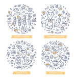 Investment Doodle Illustrations. Doodle  concepts of income & growth in business, fund raising, investment diversification and financial consulting Royalty Free Stock Photo