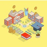 Investment in education concept vector flat isometric illustration Royalty Free Stock Photography