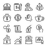 Investment , Financial , Saving Money, Economic icon set in thin. Line style Royalty Free Stock Photos