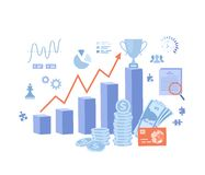 Investment, financial success, strategic management. Income chart, profit growth steps, money, documents, winner`s cup. Business. Banner. Vector illustration on royalty free illustration