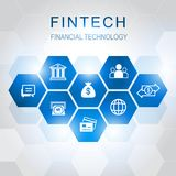 Investment Financial Technology icons with hexagon background. V. Fin tech Internet Concept. text and Investment Financial Technology icons with hexagon Stock Images