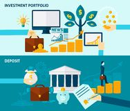 Investment Flat Banner Set Stock Image