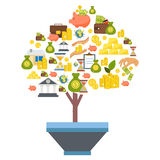 Investment Flat Composition. Investment flat colored composition with isolated icon set combined into a money tree vector illustration Royalty Free Stock Photography
