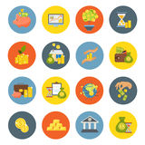 Investment Flat Icon Set. Investment flat isolated icon set with bank or business financial equipment money and attachments vector illustration Stock Photography
