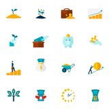 Investment Flat Icon Set Stock Images