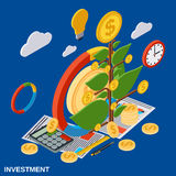 Investment flat isometric vector concept Royalty Free Stock Image