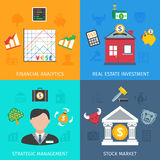 Investment Flat Set. Investment design concept set with financial analytics and strategic management flat icons isolated vector illustration Royalty Free Stock Photography
