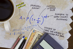 Investment formula with interest Stock Photos