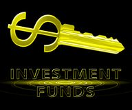 Investment Funds Means Stock Market 3d Illustration. Investment Funds Dollar Key Means Stock Market 3d Illustration Stock Photos