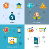 Investment Funds Profit Icons Set Royalty Free Stock Photo