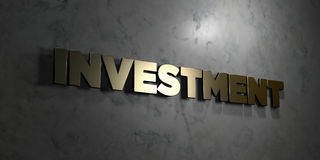 Investment - Gold text on black background - 3D rendered royalty free stock picture Stock Photo