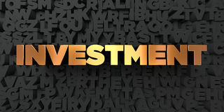 Investment - Gold text on black background - 3D rendered royalty free stock picture Royalty Free Stock Photo