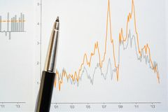 Investment graph and pen. Stock market performance graph showing profit and loss volatility black and silver pen Stock Photo