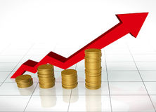 Investment grow. Big arrow going up with good investment Royalty Free Stock Images