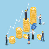 Investment growth concept. In 3d isometric flat design Royalty Free Stock Photos