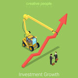 Investment growth deal partnership business vector isometric. Investment growth flat 3d isometry isometric real estate business partnership deal concept web Stock Images