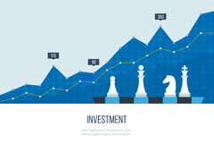 Investment growth. Strategy business. Investment. Flat line design concept for investment, finance, banking, market data analytics, strategic management Royalty Free Stock Photos
