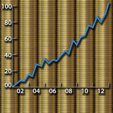 Investment growth wealth money gold coins chart Royalty Free Stock Photography