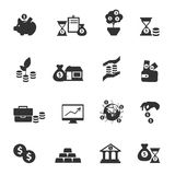 Investment Icon Set. Black investment icon set equipments of bank and everything that is connected with money and investment of funds vector illustration Royalty Free Stock Image