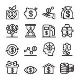 Investment icon set in Thin line style vector illustration. Investment icon set  in Thin line style vector illustration Royalty Free Stock Photography