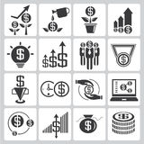 Investment icons, financial icons. Set of 16 investment icons, financial icons Royalty Free Stock Images