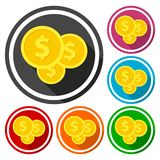 Investment icons, money  icons with long shadow. Icon Stock Images