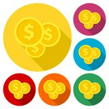 Investment icons, money vector icons with long shadow set. Vector icon Royalty Free Stock Photos