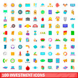 100 investment icons set, cartoon style Stock Image