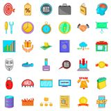 Investment icons set, cartoon style. Investment icons set. Cartoon style of 36 investment vector icons for web isolated on white background Stock Photos