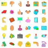 Investment icons set, cartoon style. Investment icons set. Cartoon style of 36 investment vector icons for web isolated on white background Stock Photography