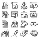 Investment icons set. Money, finance, banking illustration. Vector Investment icons set. Money, finance banking illustration Royalty Free Stock Photos