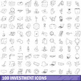 100 investment icons set, outline style. 100 investment icons set in outline style for any design vector illustration Royalty Free Stock Photography