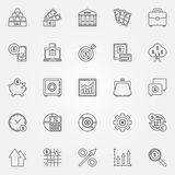 Investment icons set. Vector business and financial concept symbols or logo elements in thin line style Royalty Free Stock Images