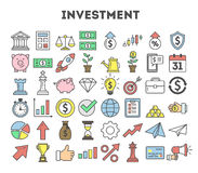 Investment icons set. Investment icons set on white background. Colorful creative icons as piggy bank, arrows, gear, money and rocket Stock Photography