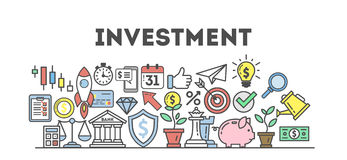 Investment icons set. Stock Photos