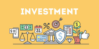 Investment icons set. Investment icons set on white background. Colorful creative icons as piggy bank, arrows, gear, money and rocket. All icons in a heap Stock Photos
