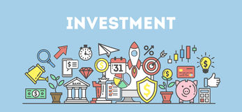 Investment icons set. Investment icons set on white background. Colorful creative icons as piggy bank, arrows, gear, money and rocket. All icons in a heap Stock Image