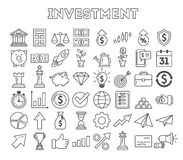 Investment icons set. Investment icons set on white background. Colorful creative icons as piggy bank, arrows, gear, money and rocket. Black and white Stock Images