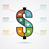 Investment infographic. Infographic template with dollar sign and finace icons, finance, investment concept Royalty Free Stock Photography