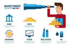 Investment Infographics. Businessman using telescope looking for investment. Stock Images