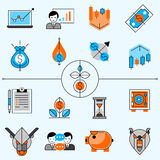 Investment Line Icons Set Stock Images