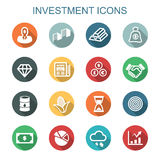 Investment long shadow icons. Flat vector symbols Royalty Free Stock Photography