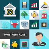Investment Long Shadows Icon Set Stock Photography
