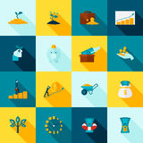 Investment Long Shadows Icon Set Royalty Free Stock Images