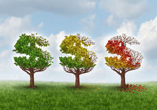 Investment Loss. And financial stress business concept with three trees shaped as a dollar or money symbol gradually losing leaves in an autumn theme from green Royalty Free Stock Photo